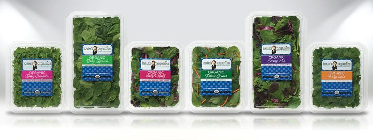 Digital rendering of clamshell and labels designed for Josie's Organics.