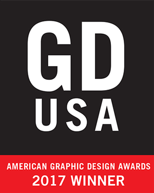 Black and red winner's badge for the American Graphics Design Award