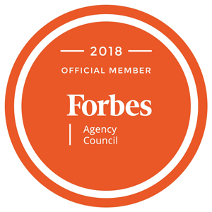 Orange badge for Forbes Agency Council.
