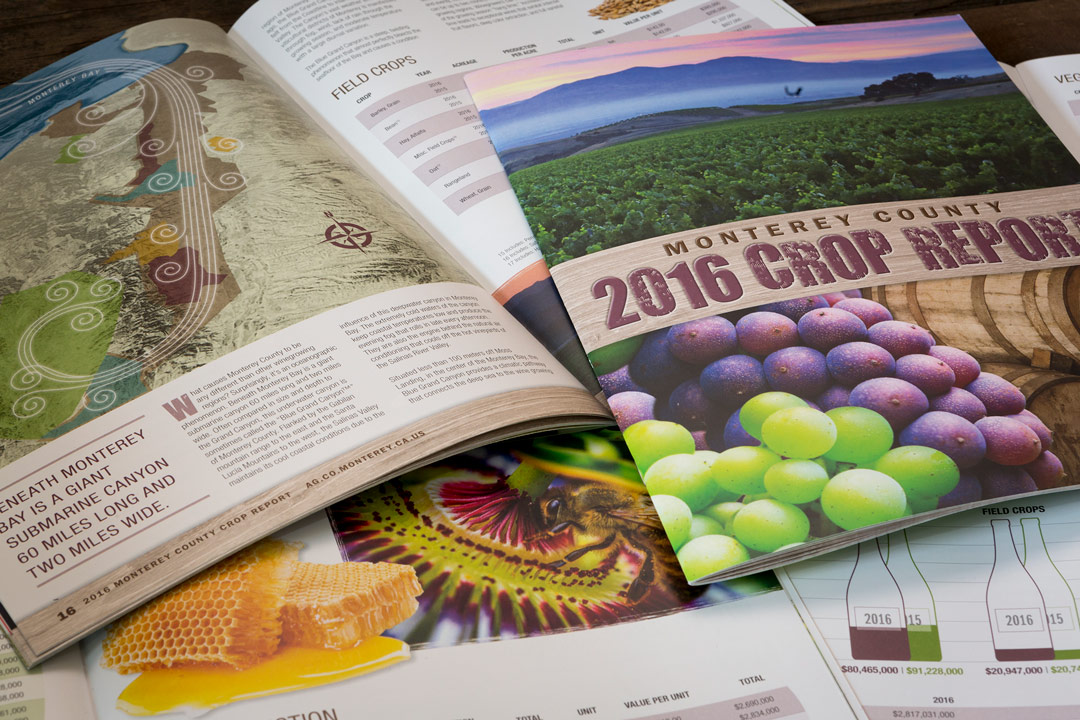 Collage of pages from the award winning Monterey County Crop Report
