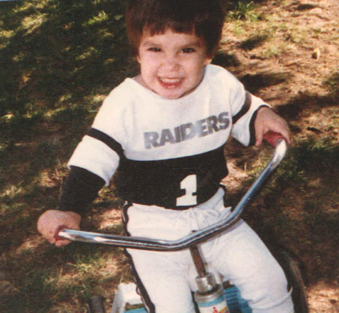 Anthony Davi on his tricycle.