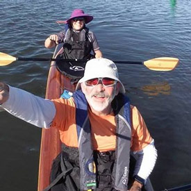 Terry and Carla on the maiden voyage of their handbuilt kayak.